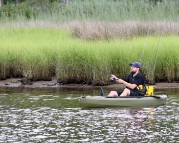 Man fishing from a kayak