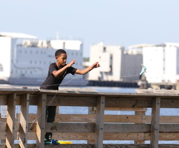 young man crabbing