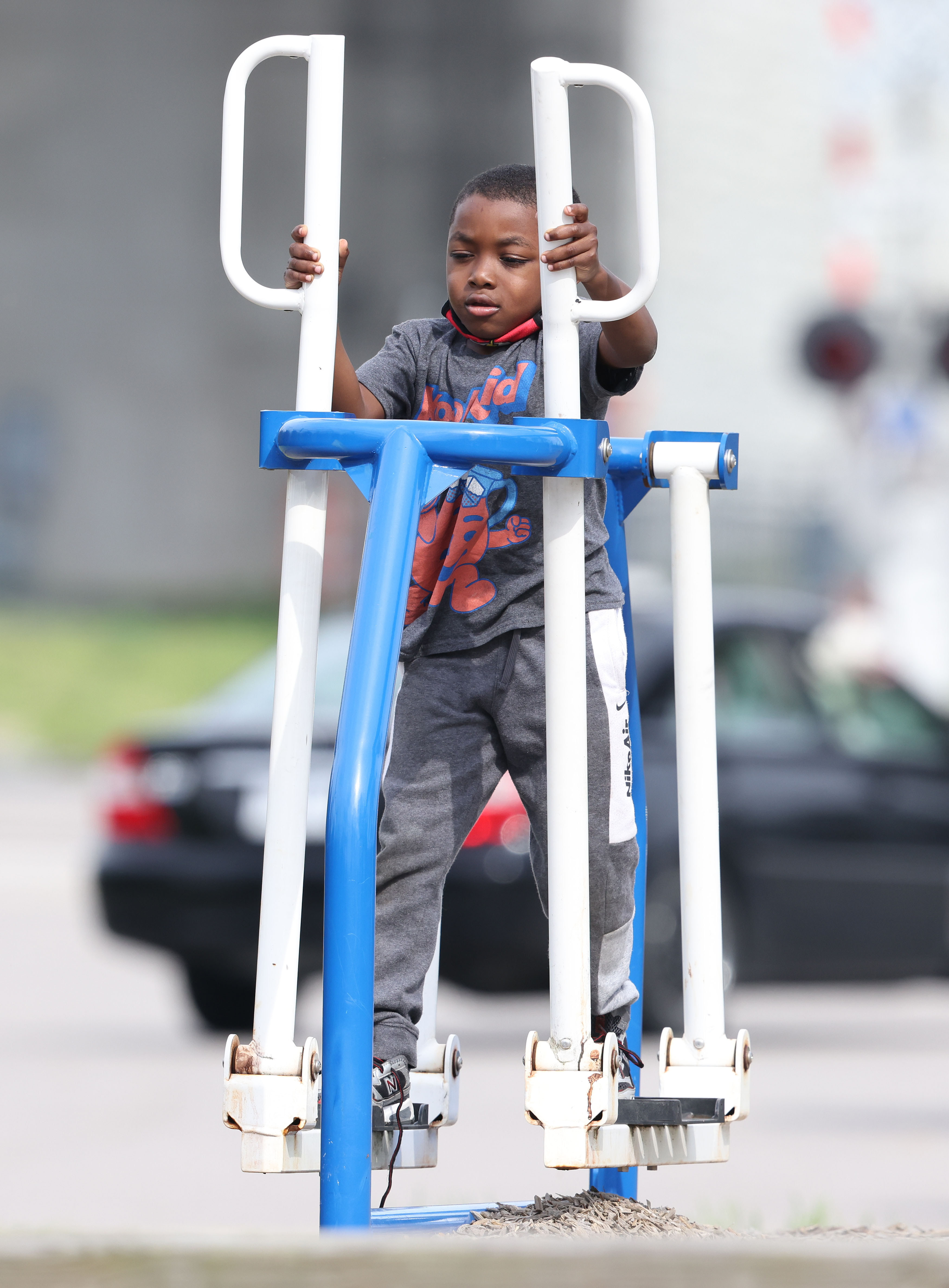 Young man on exercise equipment
